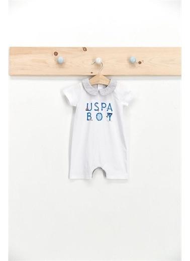 U.S. Polo Assn. Lisanslı Marine Beyaz Erkek Bebek Kısa Kol Tulum Beyaz